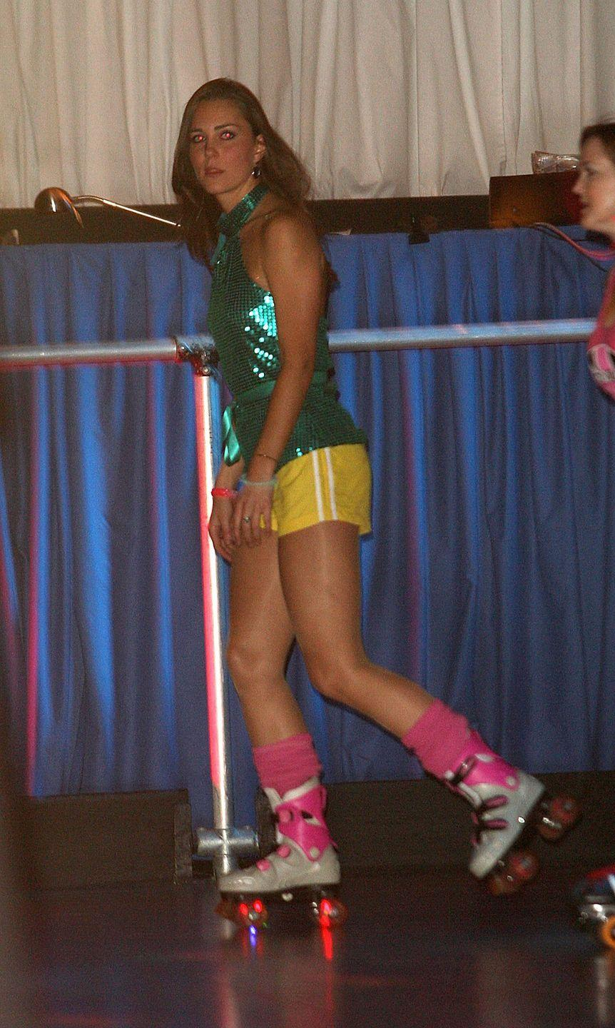 <p>In her pre-royal life, Kate channeled the 1980s in a wild, roller-skating outfit. For this funky look, she chose a green sequined top, yellow shorts, and hot pink leg warmers. </p>