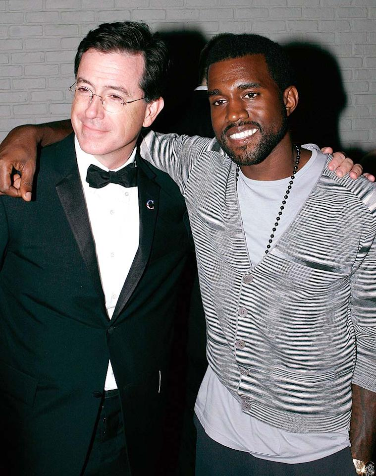"""Stephen Colbert (who eerily resembled Bob Saget) and his buddy Kanye West posed for a series of photographs at Comedy Central's STK shindig. Paul Redmond/<a href=""""http://www.wireimage.com"""" target=""""new"""">WireImage.com</a> - September 21, 2008"""