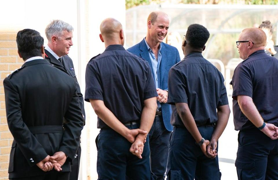 The Duke of Cambridge meets firefighters alongside London Fire Brigade Commissioner Andy Roe (left) (Dominic Lipinski/PA) (PA Wire)