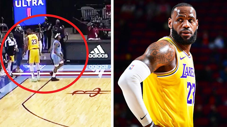 LeBron James (pictured right) during an NBA game and (pictured left) after a no-look three-pointer (pictured left).
