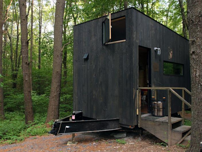 "A ""tiny house"" holiday lodge in the Catskills, New York, in June 2017."
