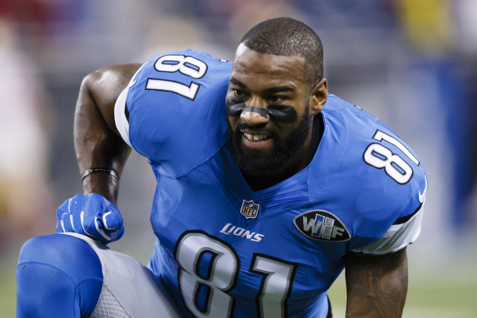 Former Lions wide receiver Calvin Johnson is on the doorstep of the Pro Football Hall of Fame in his first year of eligibility. (AP Photo/Rick Osentoski, File)