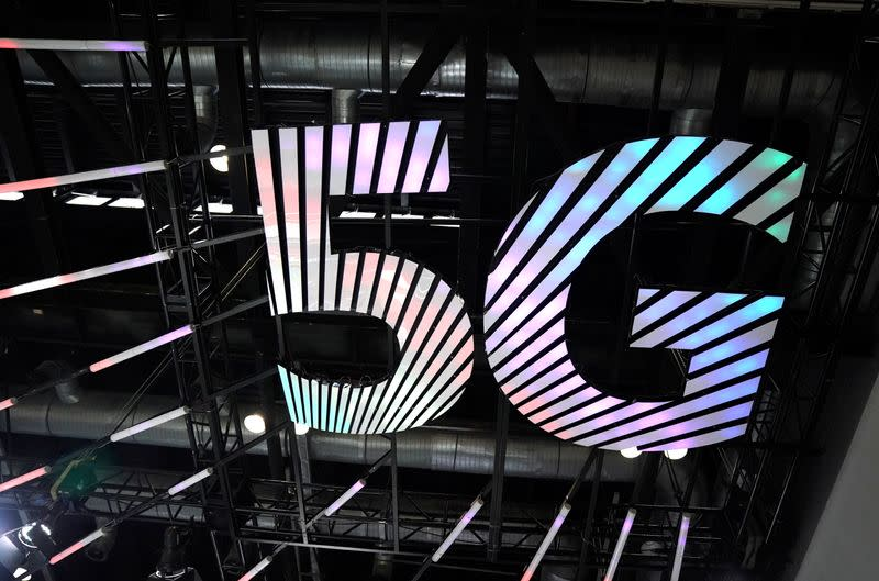 FILE PHOTO: Sign of 5G is seen at the 2020 China International Fair for Trade in Services (CIFTIS) in Beijing