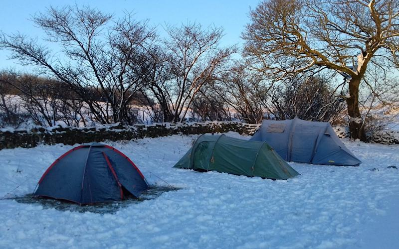 Joe Shute's tent pitched in a snowy field - Joe Shute
