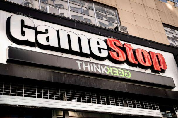 PHOTO: GameStop store logo on 14th Street at Union Square, Jan. 28, 2021, in New York City. (John Minchillo/AP)
