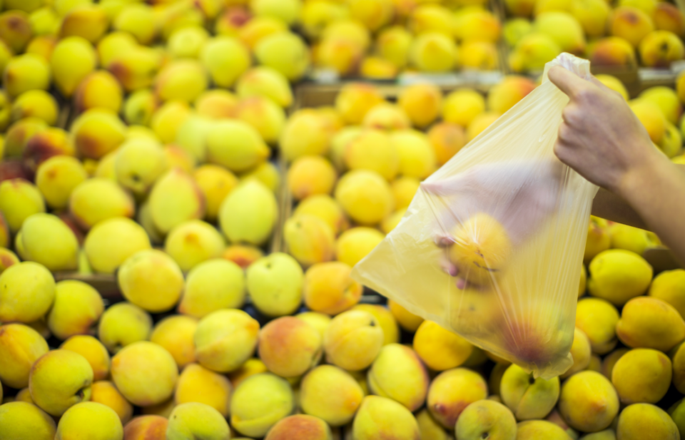<em>The supermarket said it hopes the move will stop the use of more than 150 million small plastic bags each year (Rex/stock photo)</em>