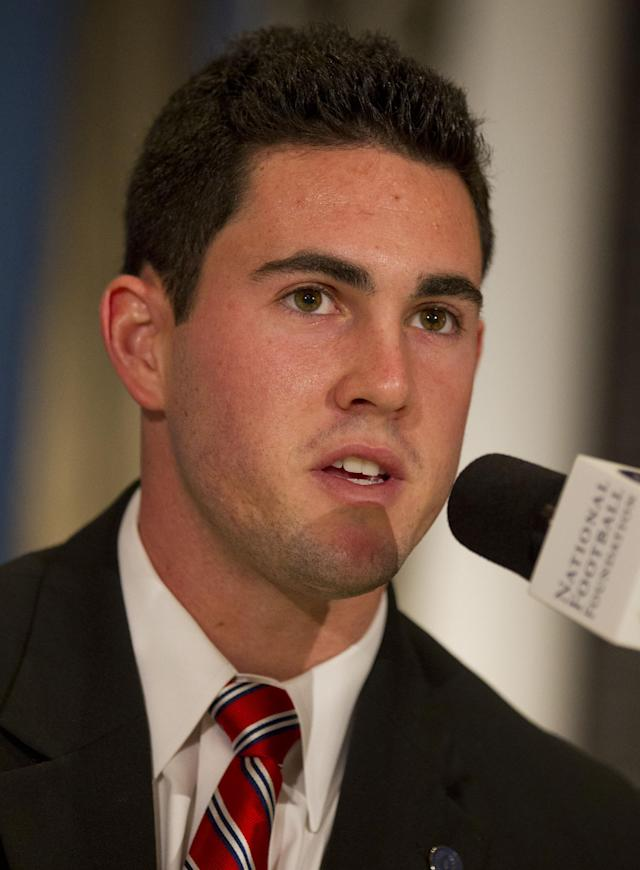 Georgia quarterback Aaron Murray speaks at the National Football Foundation annual awards press conference at the Waldorf-Astoria as part of the 2013 NFF National Scholar-Athlete Class during the 56th National Football Foundation Awards ceremonies on Tuesday, Dec. 10, 2013 in New York. (AP Photo/Jin Lee)