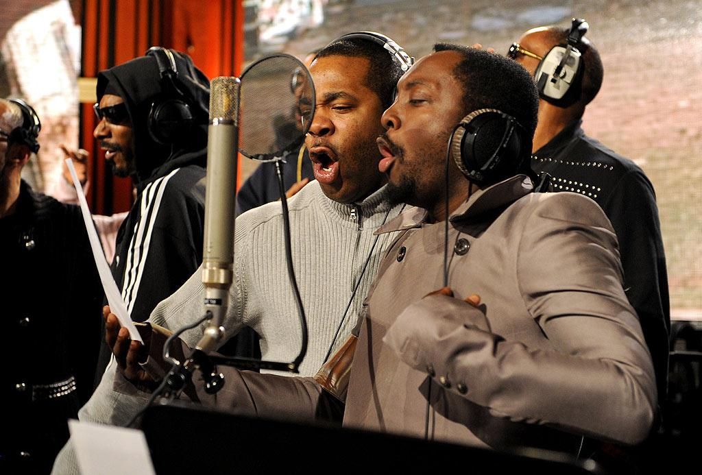 "Busta Rhymes and will.i.am sung their hearts out. The Black Eyed Pea reportedly contributed some new raps to the song as well. Kevin Mazur/<a href=""http://www.wireimage.com"" target=""new"">WireImage.com</a> - February 1, 2010"