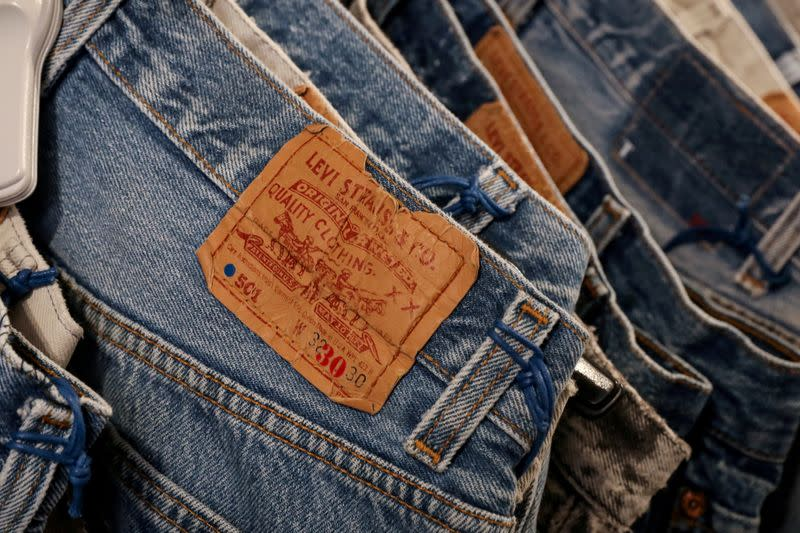 FILE PHOTO: The Levi's tag is seen on pants hanging in a Levi Strauss store in New York
