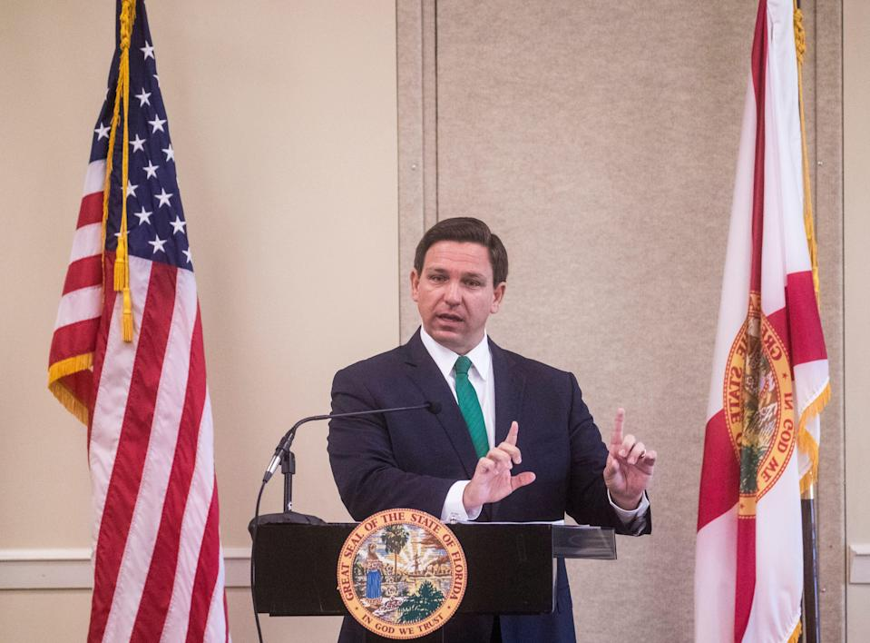 """While promoting a new civics initiative, Florida Gov. Ron DeSantis called out critical race theory as """"teaching kids to hate their country and to hate each other."""""""