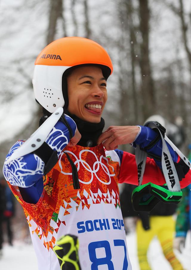 SOCHI, RUSSIA - FEBRUARY 18: Vanessa Vanakorn of Thailand reacts after a run during the Alpine Skiing Women's Giant Slalom on day 11 of the Sochi 2014 Winter Olympics at Rosa Khutor Alpine Center on February 18, 2014 in Sochi, Russia. (Photo by Alexander Hassenstein/Getty Images)