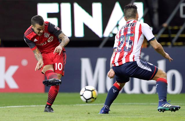 Soccer Football - CONCACAF Champions League Final Second Leg - Guadalajara vs Toronto FC - Estadio Akron, Guadalajara, Mexico - April 25, 2018 Toronto's Sebastian Giovinco scores their second goal REUTERS/Henry Romero