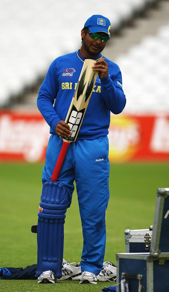 NOTTINGHAM, ENGLAND - JUNE 09:  Kumar Sangakkara, Captain of Sri Lanka inspects his bat during a nets session at Trent Bridge on June 9, 2009 in Nottingham, England.  (Photo by Matthew Lewis/Getty Images)
