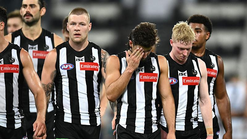 Collingwood players, pictured here after their AFL semi-final loss to Geelong.