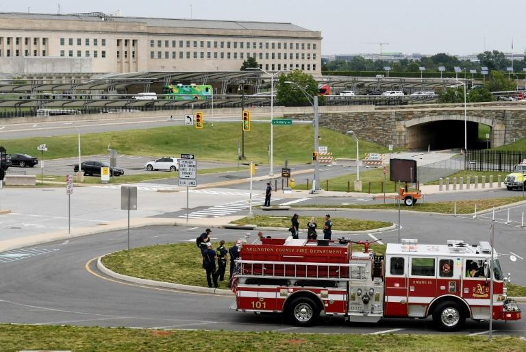 Fire and Rescue Department vehicles outside the Pentagon, which was locked down