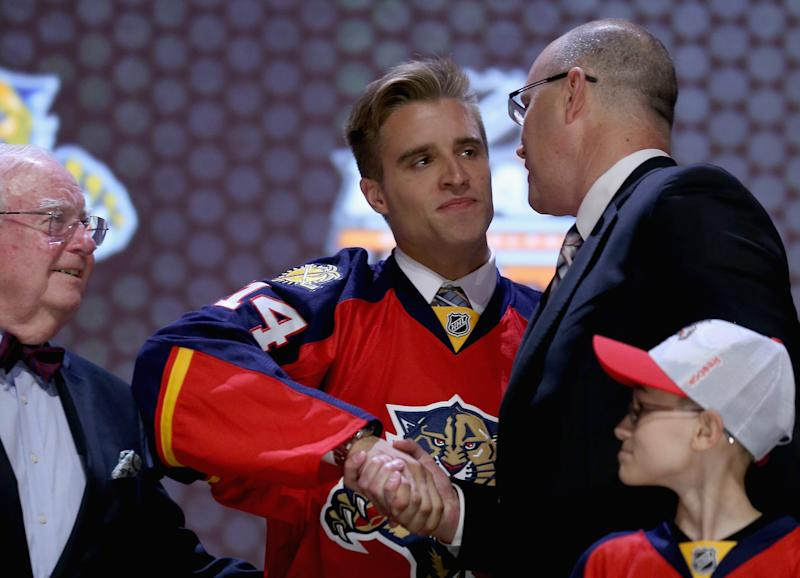 Aaron Ekblad is selected first overall by the Florida Panthers in the first round of the NHL Draft, at the Wells Fargo Center in Philadelphia, Pennsylvania, on June 27, 2014