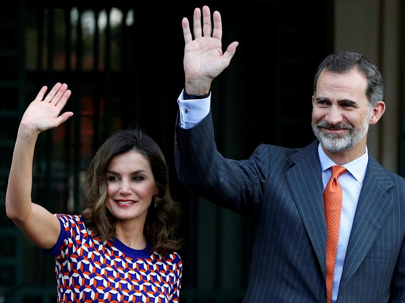 Spain's King Felipe VI and Queen Letizia wave as they arrive at the Cabildo in New Orleans, Louisiana, on 15 June 2018: Jonathan Bachman/Reuters