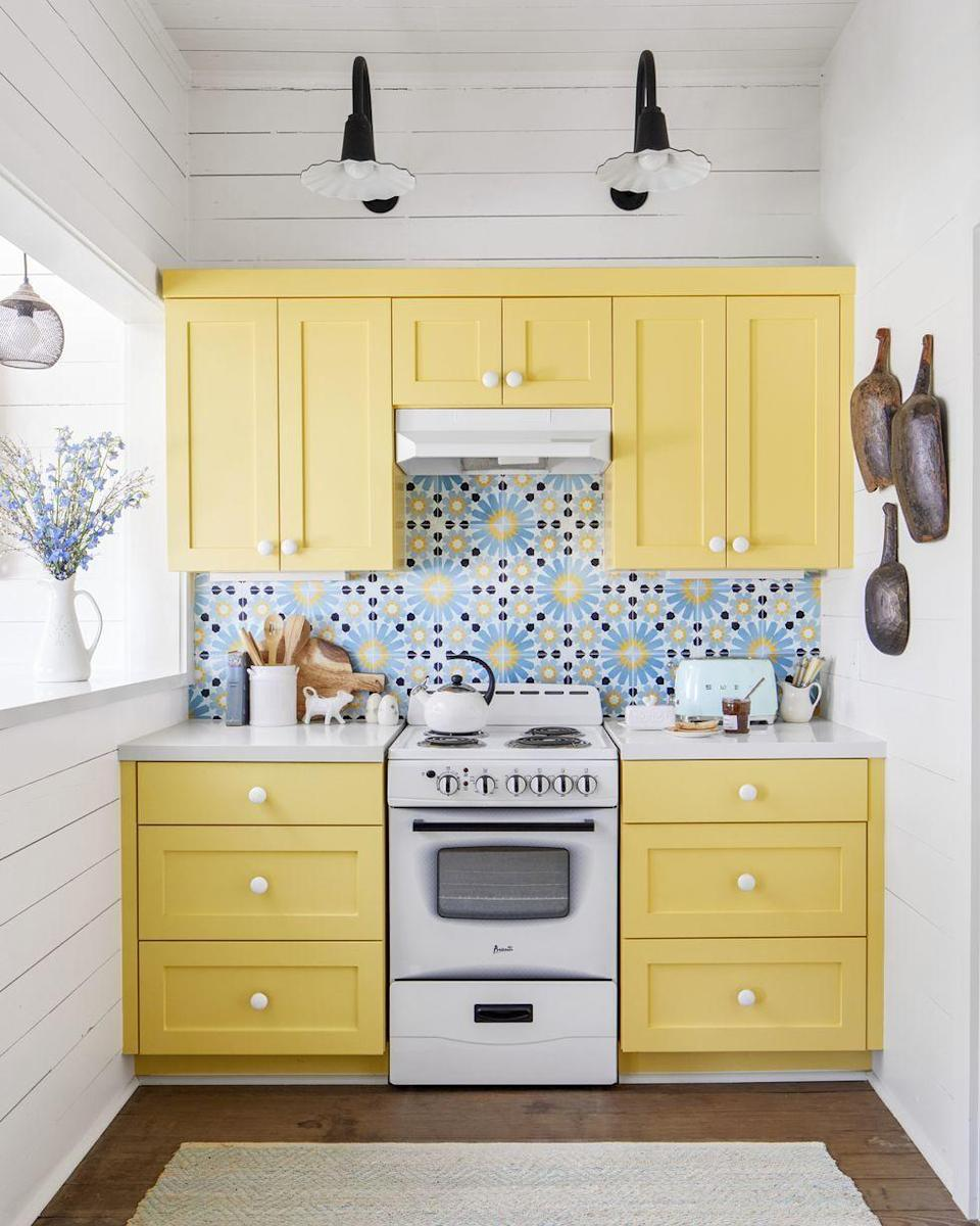 <p>Because we all need a little more sunshine in our lives after 2020, am I right?! Pair them with a fun backsplash and you will smile every time you walk into your happy kitchen! </p>