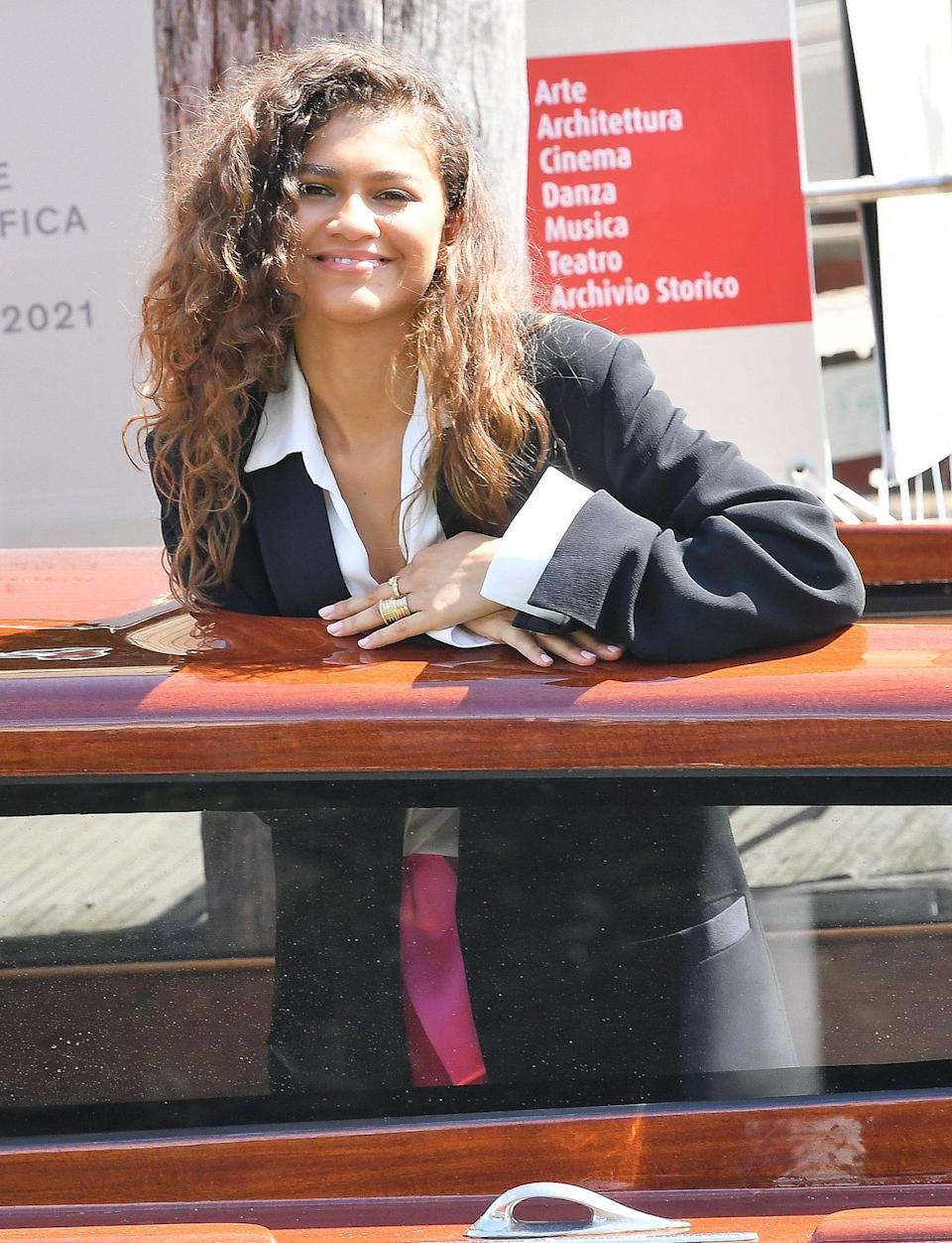 <p>Zendaya looked laid-back and relaxed while arriving on Sept. 3 in a Valentino Couture dress. </p>