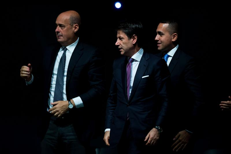 NARNI, ITALY - OCTOBER 25: General Secretary of Democratic Party (PD) Nicola Zingaretti, Italian Prime Minister Giuseppe Conte and Italian Minister of Foreign Affairs Luigi Di Maio(R) attend the press conference to present the budget maneuver, on October 25, 2019 in Narni, Italy. (Photo by Antonio Masiello/Getty Images) (Photo: Antonio Masiello via Getty Images)