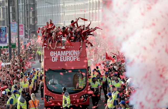 Liverpool's players with the Champions League trophy. (Credit: Getty Images)