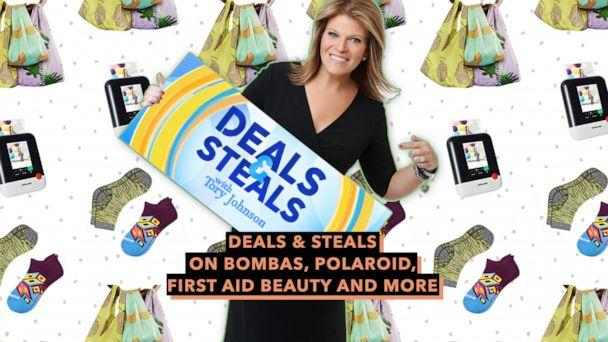 PHOTO: Deals and Steals on Bombas, Polaroid, First Aid Beauty and more (ABC News Photo Illustration, Baggu, Bombas, Polaroid)