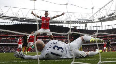 Britain Football Soccer - Arsenal v Manchester City - Premier League - Emirates Stadium - 2/4/17 Arsenal's Theo Walcott celebrates as Shkodran Mustafi (not pictured) scored their second goal past Manchester City's Willy Caballero  Reuters / Eddie Keogh Livepic