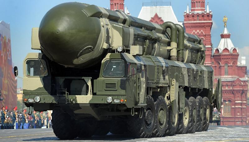 A Russian Topol-M intercontinental ballistic missile is driven through Red Square in Moscow in May 2009