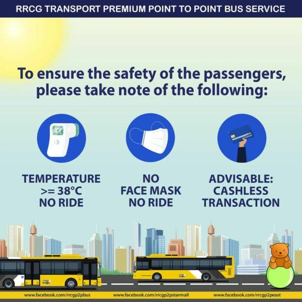 P2P Bus Routes and Schedule in GCQ - Safety precautions
