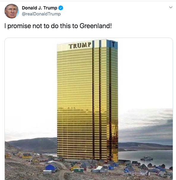 """Absurd idea"": The President joked about putting a Trump Tower on the island's coast. (Twitter)"