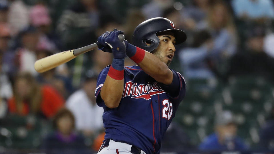 Minnesota Twins' Eddie Rosario bats against the Detroit Tigers in the eighth inning of a baseball game in Detroit, Wednesday, Sept. 25, 2019. (AP Photo/Paul Sancya)