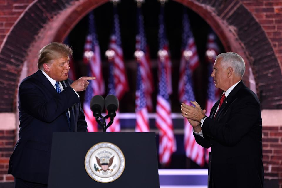 President Donald Trump and Vice President Mike Pence made no mention of the NBA in their Republican National Convention speeches. (Saul Loeb/AFP via Getty Images)