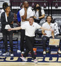 FILE - Connecticut Sun head coach Curt Miller looks for a traveling call on an Atlanta Dream player during a WNBA basketball game in Uncasville, Conn., in this Friday, July 9, 2021, file photo. Sun coach Curt Miller was unanimously chosen as the AP's Coach of the Year, Wednesday, Sept. 22, 2021 .(Sean D. Elliot/The Day via AP, File)