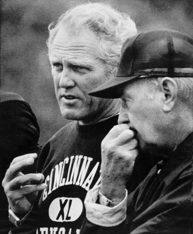 "<a class=""link rapid-noclick-resp"" href=""/ncaab/players/138202/"" data-ylk=""slk:Paul Brown"">Paul Brown</a>, right, snubbed Bill Walsh to be the Bengals next head coach in 1975. (AP)"