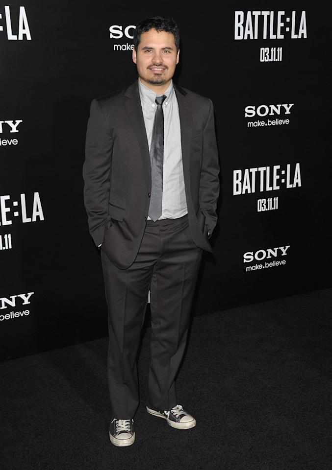 """<a href=""""http://movies.yahoo.com/movie/contributor/1800213841"""">Michael Pena</a> at the Los Angeles premiere of <a href=""""http://movies.yahoo.com/movie/1810119633/info"""">Battle: Los Angeles</a> on March 8, 2011."""
