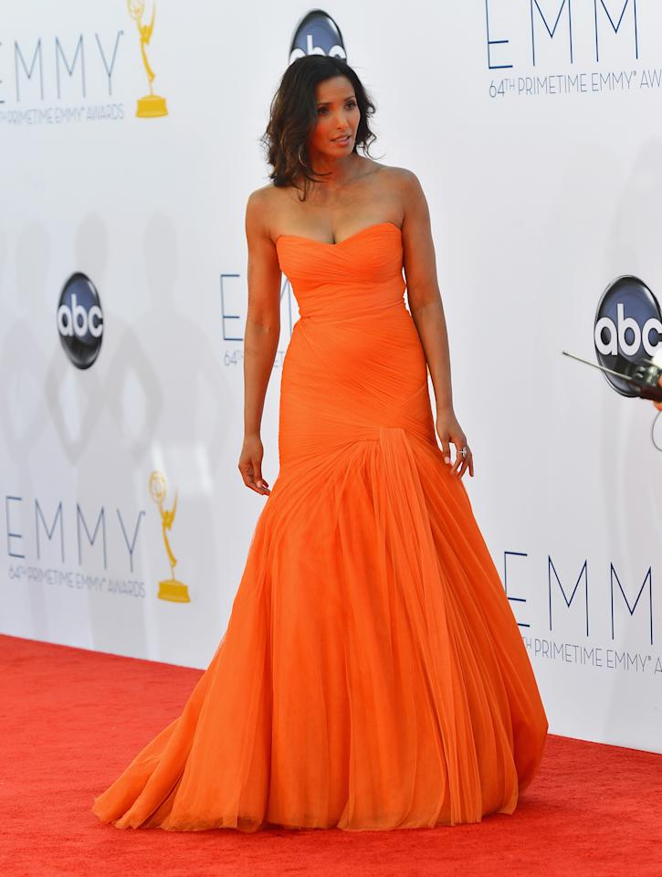 LOS ANGELES, CA - SEPTEMBER 23: TV personality Padma Lakshmi  arrives at the 64th Annual Primetime Emmy Awards at Nokia Theatre L.A. Live on September 23, 2012 in Los Angeles, California.  (Photo by Frazer Harrison/Getty Images)
