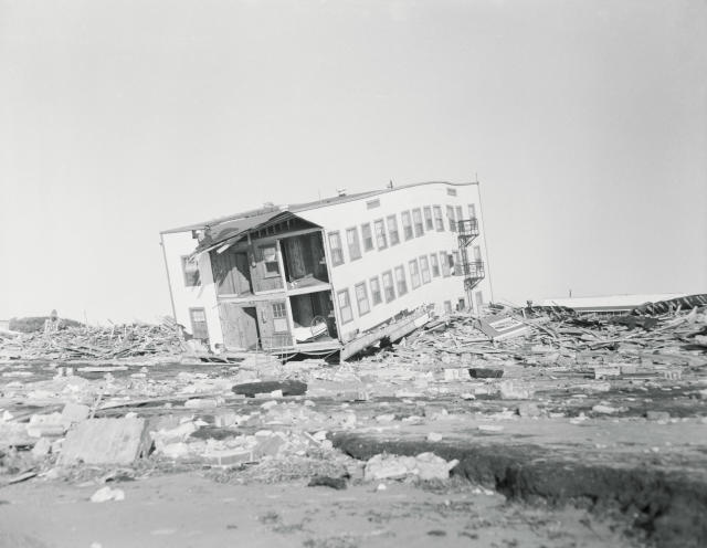 <p>The scene of damage done at Myrtle Beach by Hurricane Hazel in October, 1954. (Photo from Getty Images) </p>
