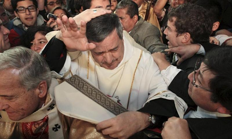 Bishop Juan Barros faced protests while attended a religious service in Chile in 2015.