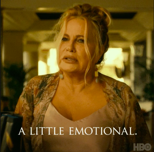 """Jennifer's The White Lotus character speaking to someone with the caption, """"A little emotional"""""""