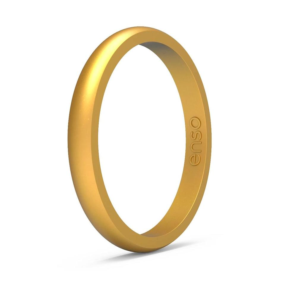 """$40, Enso Rings. <a href=""""https://ensorings.com/products/elements-classic-halo-silicone-ring-gold"""" rel=""""nofollow noopener"""" target=""""_blank"""" data-ylk=""""slk:Get it now!"""" class=""""link rapid-noclick-resp"""">Get it now!</a>"""
