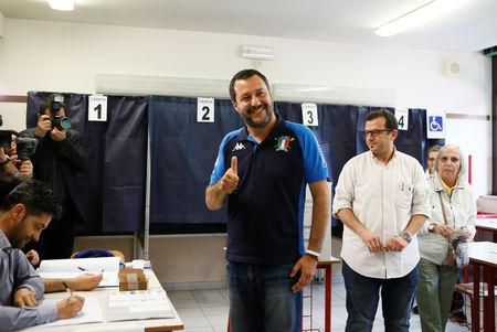 Italian Deputy Prime Minister and leader of far-right League party Matteo Salvini gives a thumb up before casting his vote