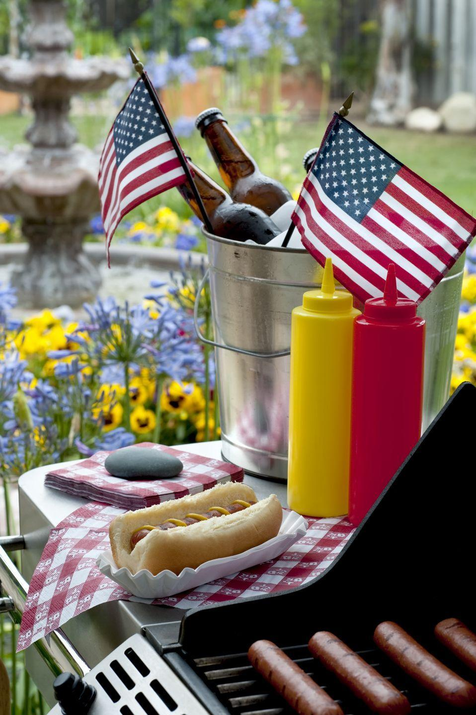 """<p>Fire up the grill for some great eats! Hot dogs and burgers are essential, of course, but don't forget the <a href=""""https://www.goodhousekeeping.com/food-recipes/easy/g4310/fourth-of-july-appetizers/"""" rel=""""nofollow noopener"""" target=""""_blank"""" data-ylk=""""slk:tasty apps"""" class=""""link rapid-noclick-resp"""">tasty apps</a> (and some <a href=""""https://www.goodhousekeeping.com/food-recipes/g4316/fourth-of-july-drinks/"""" rel=""""nofollow noopener"""" target=""""_blank"""" data-ylk=""""slk:festive drinks"""" class=""""link rapid-noclick-resp"""">festive drinks</a> to cool off in the heat).</p><p><strong>RELATED: </strong><a href=""""https://www.goodhousekeeping.com/holidays/g2069/4th-of-july-recipes/"""" rel=""""nofollow noopener"""" target=""""_blank"""" data-ylk=""""slk:59 Easy 4th of July Recipes Your Family Will Devour"""" class=""""link rapid-noclick-resp"""">59 Easy 4th of July Recipes Your Family Will Devour</a></p>"""