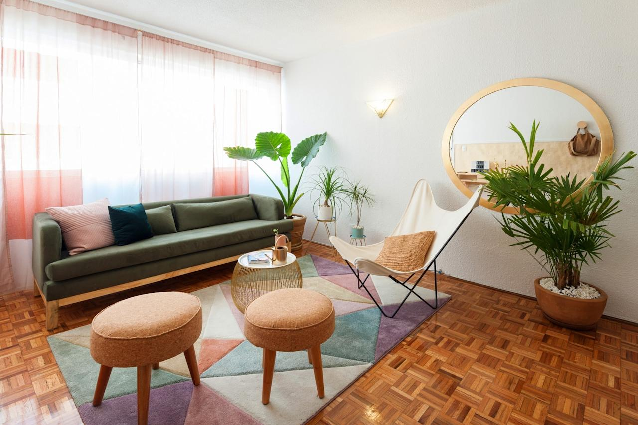 """<p><a href=""""https://www.cntraveler.com/story/my-favorite-airbnb-in-mexico-city-a-colorful-tropical-oasis-in-condesa?mbid=synd_yahoo_rss"""" target=""""_blank"""">One of community editor Megan Spurrell's favorite Mexico City Airbnbs</a>, this two-bedroom apartment is a tropical feminine oasis, also in Condesa. And, while most apartments in the city are walk-ups, this one has an elevator (albeit a rickety one). Inside, you'll find one bedroom that's bigger than the other—one with a queen and one with a double—with enough room to fit four cozy friends. The hosts have put a lot of care into this Airbnb, according to Spurrell. """"Modest but thoughtful details like tea and some condiments in the kitchen also go a long way toward making it feel like home,"""" she says.</p> <p><strong>Book now:</strong> <a href=""""https://airbnb.pvxt.net/amgxN"""" rel=""""nofollow"""" target=""""_blank"""">Starting at $73 per night, airbnb.com</a></p>"""