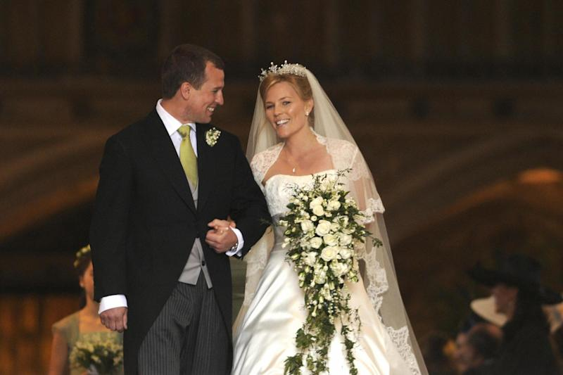 Peter Phillips and his wife Autumn leave St George's Chapel in Windsor on their wedding day in May, 2008 (AFP via Getty Images)