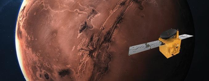 An artist's impression of the UAE Hope spacecraft in orbit around Mars. / Credit: UAE Space Agency