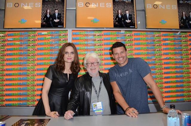 "Emily Deschanel, David Boreanaz and executive producer Ian Toynton at the ""Bones"" booth signing on Friday, July 19 during Fox Fanfare at San Diego Comic-Con 2013."