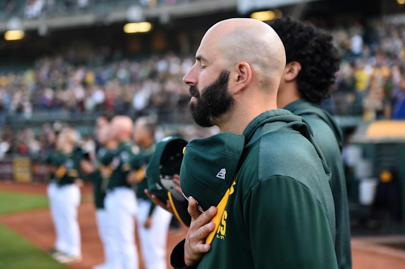 OAKLAND, CA - JULY 02: Oakland Athletics pitcher Mike Fiers (50) before the Major League Baseball game between the Minnesota Twins and the Oakland Athletics at the Oakland-Alameda County Coliseum on July 2, 2019 in Oakland, CA. (Photo by Cody Glenn/Icon Sportswire via Getty Images)