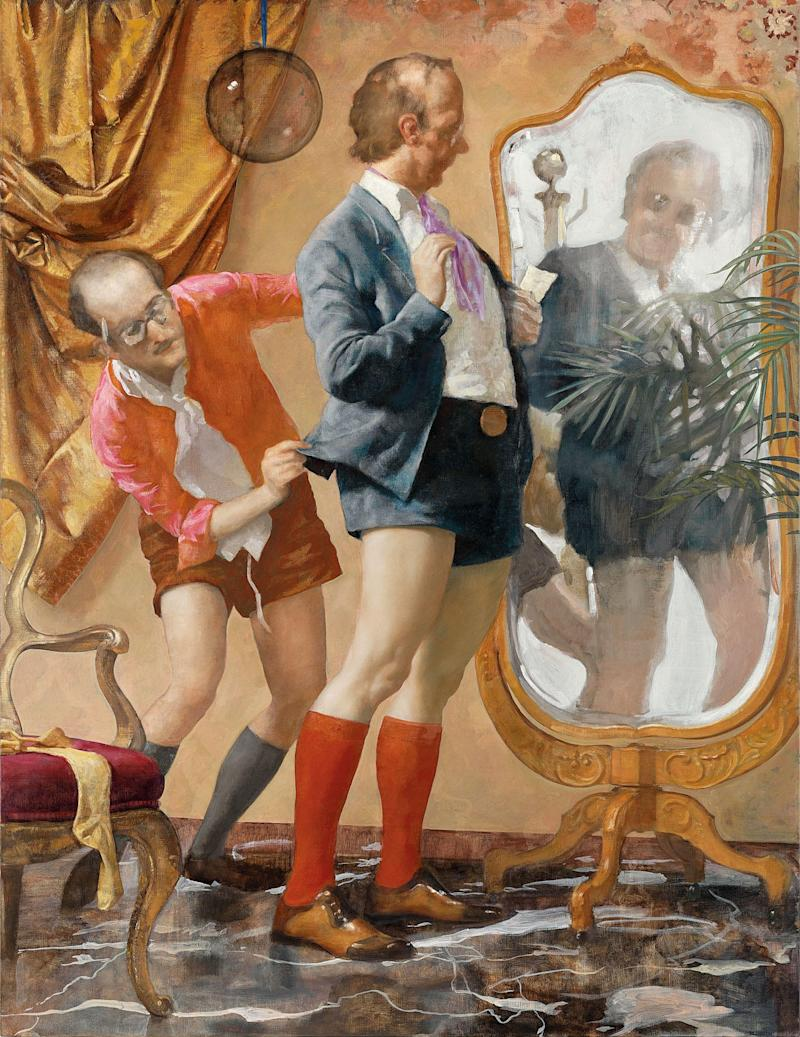 "The terrific painting Hot Pants, from 2010. Oil on canvas. It was inspired by a very dated image, he said, ""of these fake stupid men, clowns, following the whims of whatever."""