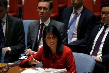 U.S. Ambassador to the United Nations Nikki Haley speaks to the U.N. Security Council as it meets to discuss the recent ballistic missile launch by North Korea at U.N. headquarters in New York