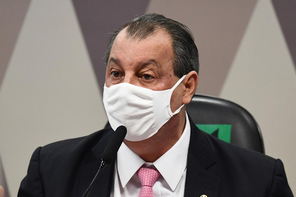 Brazilian Senator Omar Aziz, chairman of the Parliamentary Inquiry Commission that will investigate the government's handling of the coronavirus COVID-19 pandemic, speaks during a session in Brasilia on May 18, 2021. (Photo by EVARISTO SA / AFP) (Photo by EVARISTO SA/AFP via Getty Images)